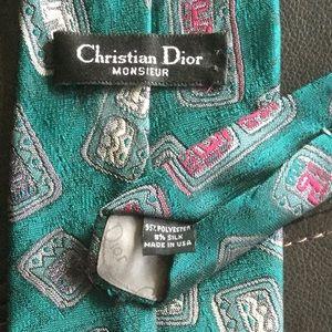 Dior Accessories - Christian Dior Monsieur Logo Tie Green Print EUC